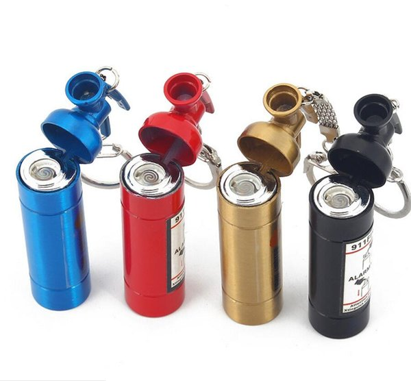 Newest Fire extinguisher Style Usb Lighters Rechargeable Electronic Cigarette Smoking Windpoof Lighters With Keychain Multiple Colors Gift
