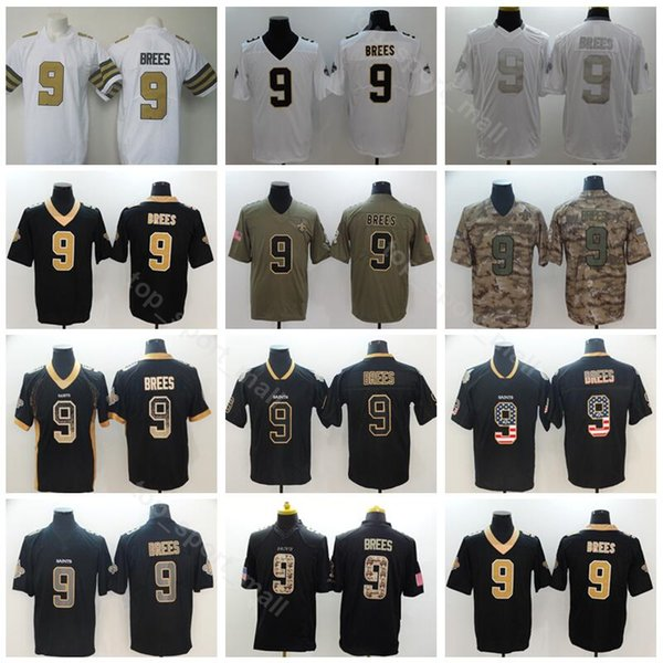 low priced b4766 0a9e0 2019 New Orleans Football Saints 9 Drew Brees Jersey Men Vapor Untouchable  Salute To Service USA Flag Shadow Hyphenation Black Camo White From ...