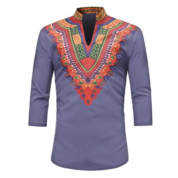 Standing Collar Tops Men Casual African National Style Printed Tshirt Male Fashion 3/4 Sleeve T-shirt Clothing New High Quality