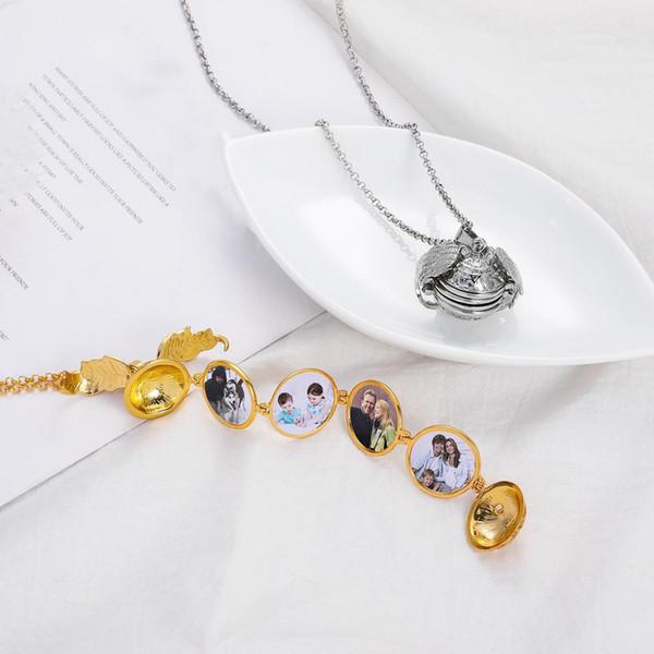 Fashion Creative Magic Unisex Hollow Wings Expanding Memory Floating 4 Photo Locket Ball Pendant Album Box Necklace Lady Gift