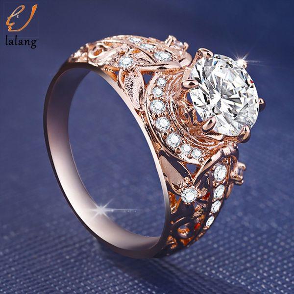Klassische Für Immer Hochzeit Ringe Für Frauen Strass Ring Rose Gold Farbe Schmuck Frauen Verlobungsring Anillos Mujer