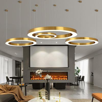 New Hot Modern Customized creative circular ring chandelier led modern minimalist hotel office industrial wind ring lamp WF5131345