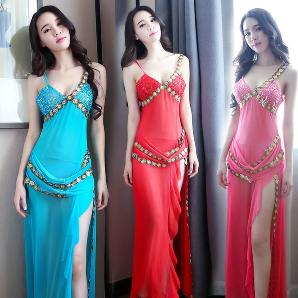 Women 4 colors Thin One-piece Sexy Full Stage Belly Dance Performance Wear Dresses Gown Robe Outfits costumes Skirt