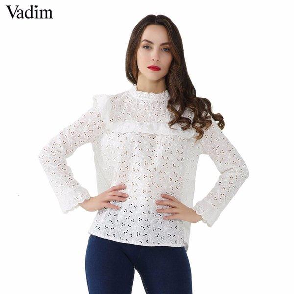 Vadim Femmes doux creux Chemises Out Ruffled Voir à travers manches longues plissées Chemisier Femme Printemps Hauts Blanc mignon Blusas Lt2780MX190930