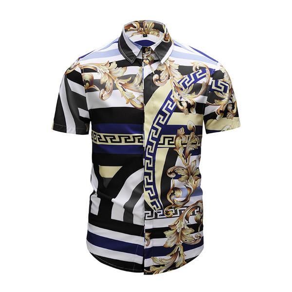 2019 Designer Shirts Men Casual Shirts Colour Short Sleeved Slim Fit Shirts Fashion Mixed Colour Print Embroidery Men's Medusa Shirt