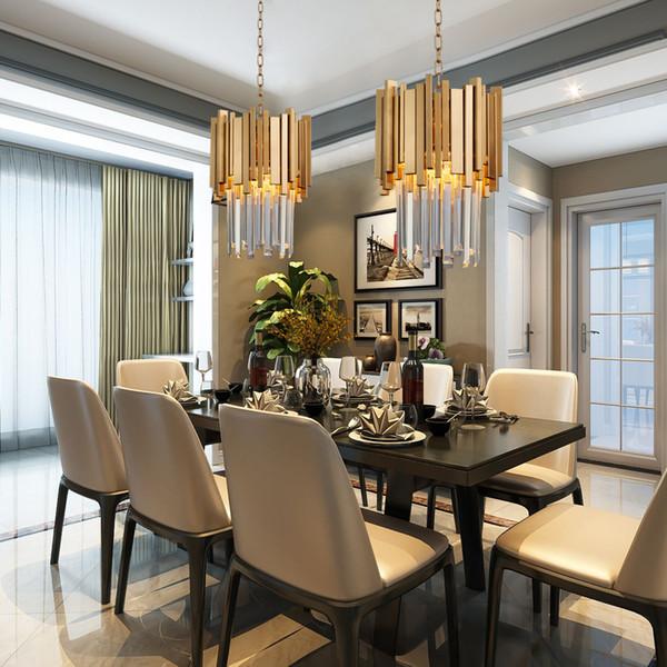 2019 Gold Chandelier Lighting Single Light Dining Room LED Crystal Lamp Modern Kitchen Island Pendant Chain Cristal Lustre