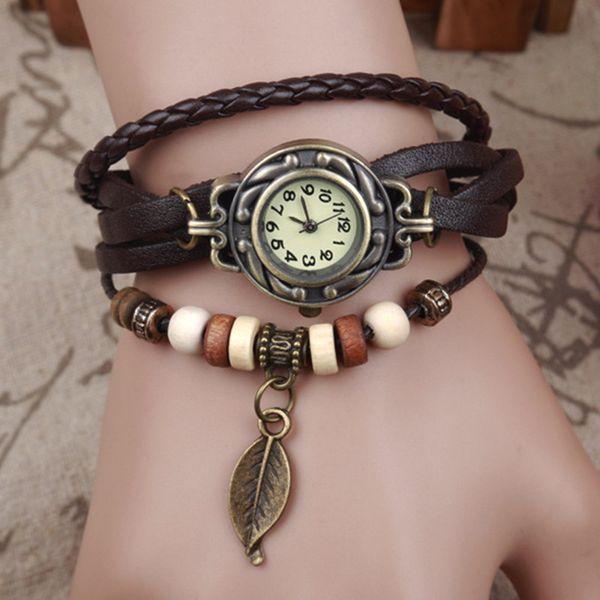 top popular Retro Quartz Bracelet Watch Leaf Pendant PU Leather Strap Dress Wrist Watches Bangle Vintage Weave Wrap Wristwatches Women Men Knit Watces 2020