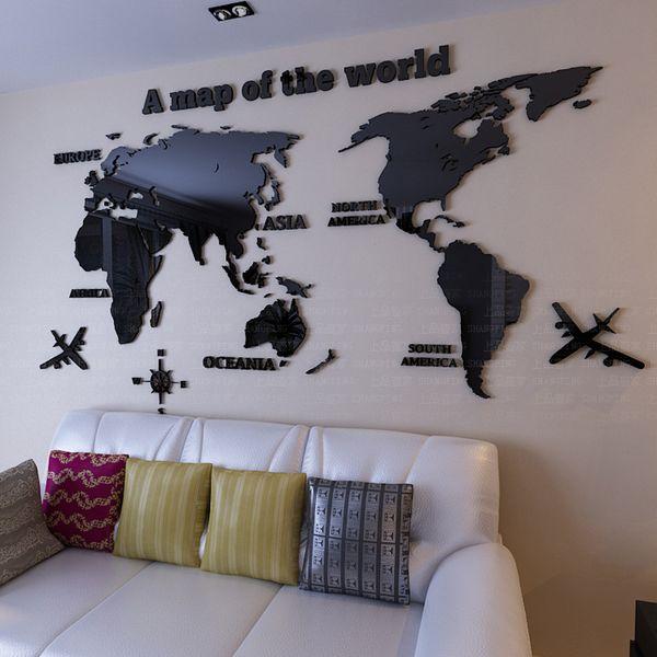 Mapa do mundo adesivos de parede 3d Acrílico sala de estar sofá fundo espelho adesivos de parede DIY arte decoração da parede