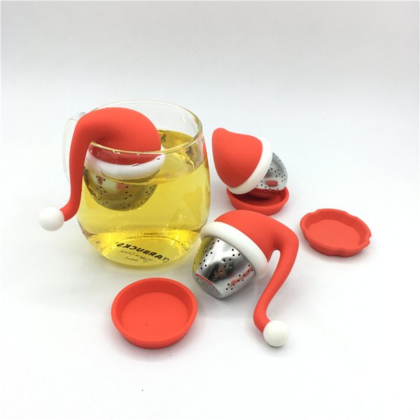 Gel de sílice filtro de té encantador sombrero de Navidad filtro de té cocina bola de té creativa estilo de Navidad decoración de escritorio para el hogar T3I5196