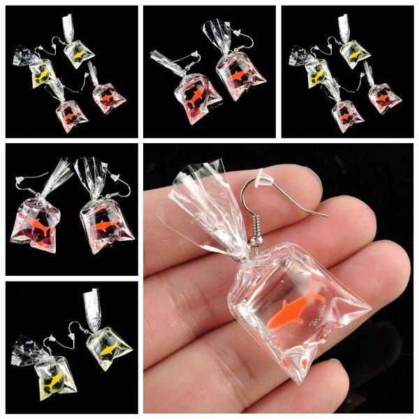 Trendy Lucky Goldfish fish bag Cuelga los pendientes de clip para mujeres Anti Alergia Graceful Joker Funny Cute Pouch Water Jewelry 2018