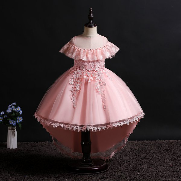 3-12 Years Little Princess Toddler Flower Pageant Dress Lace Appliques Wedding Ball Gowns Birthday Communion Kids Dress Girls Clothing 2019