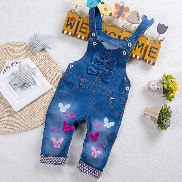 good quality 2017 Baby's Overalls Casual Denim Suspender Pants for Girls Cartoon Butterfly Girls Jeans Overalls for Children Clothes