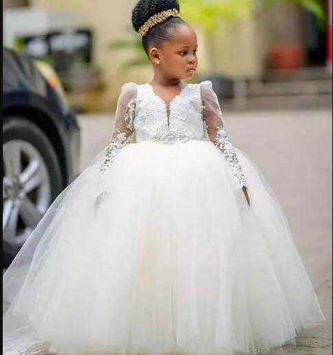 2019 Princess Ball gown Flower Girl Dresses For Weddings Long Sleeve Floor Length Girls Pageant Dress Child Birthday Party Gowns Black Girl