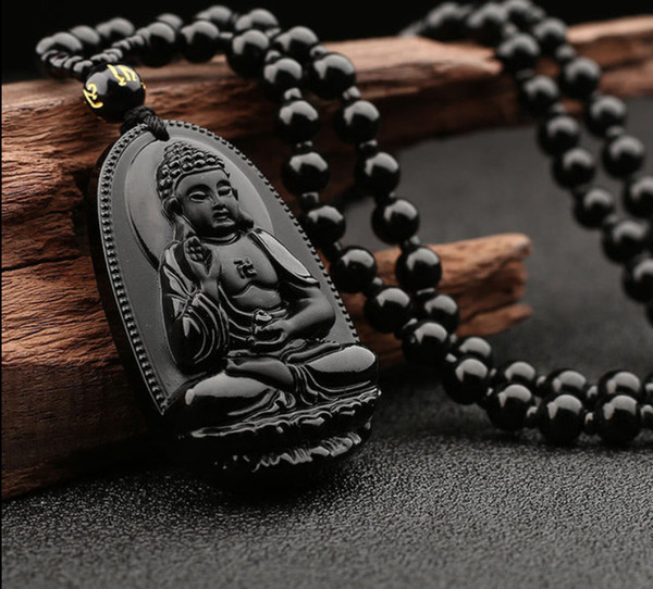 Ossidiana naturale Guanyin Buddha ciondolo Men039; s Wear Guanyin Women039; s Dai Buddha Coppia Collana National Wind