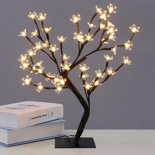 Nouveauté Sakura Fleurs Arbre Nuit Lumière LED Chaud Blanc 100-240V 6 W Creative éclairage décoratif Pour les vacances Store Room Decor
