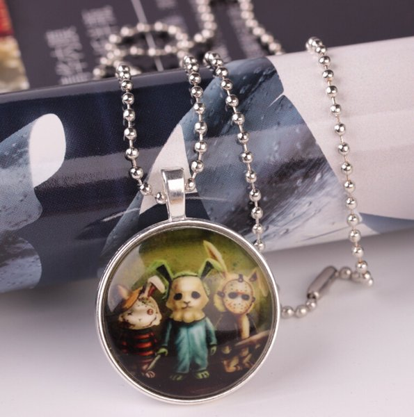 Luminous Bronze Plated Pendant Necklace Rabbit Animal haunted house Charm Vintage Necklace Jewelry Halloween Bijoux