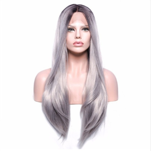 Long Natural Straight Black Root Ombre Grey 2 Tones Silver Grey Wigs Heat Resistant Synthetic Lace Front Wig Half Hand Tied Cosplay Wig