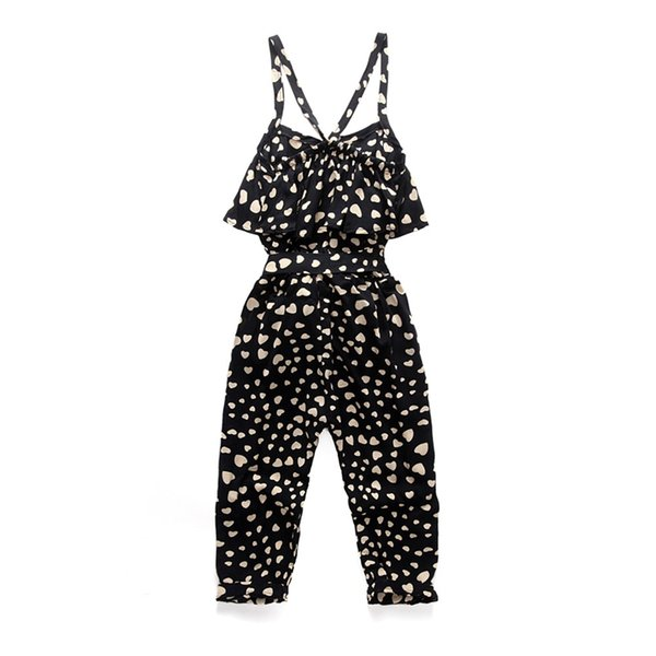 Toddler Girls' Cute Love Heart Print Sleeveless Overall Black Jumpsuit INS Infant Baby Gilrls Kids Summer Dot Children Clothes Boutiques