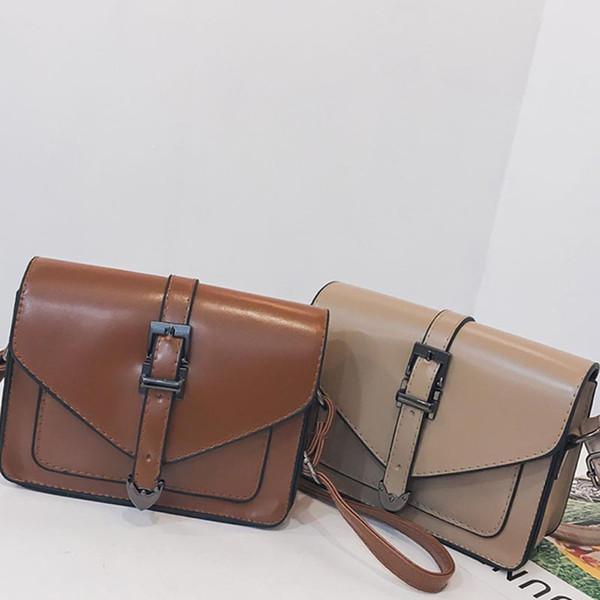 Women PU Leather Bags 2019 Solid Color Fashion Messenger Simple Retro Shoulder Bag Versatile Satchels Bags Coin Purse