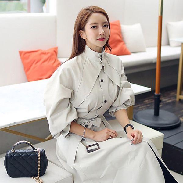 Frauen Herbst Winter Lange Graben Streetwear Korean Fashion Elegant Mantel Stehkragen Hohe Taille Lace Up Frauen Lose Windjacken