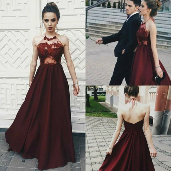New A Line Burgundy Evening Dresses Illusion Top Lace Halter Petite Backless Full Length Long Formal Prom Gown Summer Holiday robe de soiree