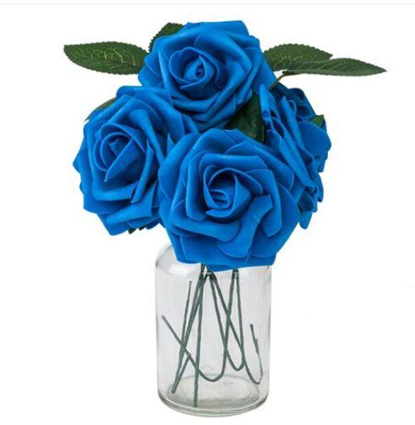 Modası güzel Ücretsiz kargo Toptan 50 adet PE Köpük Gül Çiçek Koyu Mavi