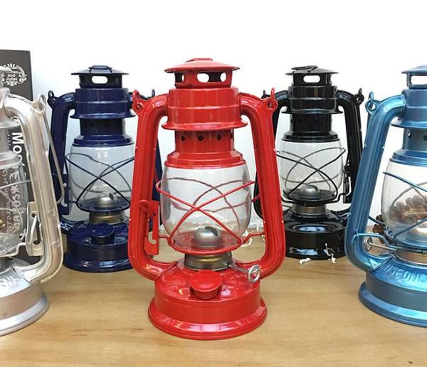 Camping Land Lamp Hanging Lantern Candle Holder Candlestick Outdoor Lighting Portable Lanterns Kerosene Metal Iron Camping Kerosene Lamp