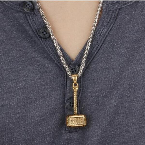 Gold Silver Thor Hammer Pendant Necklace - Men's Titanium Stainless Steel Charms Necklaces Hiphop Jewelry Party Rock Gift