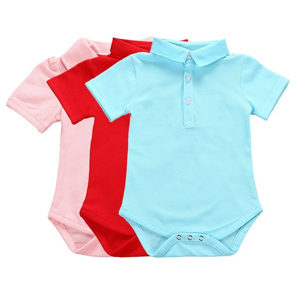 New Arrival Summer Baby Solid Short Sleeve Rompers Kids Girls Jumpsuit Newborn Toddler Infant Cotton Clothes Outfits Set