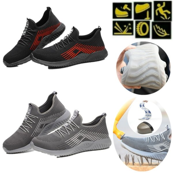 Safety Shoe Steel Toe Cap Sport Outdoor Working Hiking Trail Breathable Shoes Protective Footwear Mens Trainers Blast Anti-piercing Boots