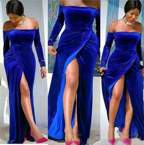 Real elegante Terciopelo azul noche largo vestidos con mangas largas del hombro atractivo del Frente de Split Prom vestido formal 2020 al sur de África barato