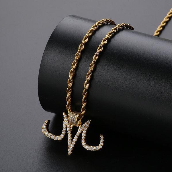 Hip Hop Astilla Majin Collar Colgante Micro Pave Zircon Iced Out Animal Joyería Hombre Mujer Regalo