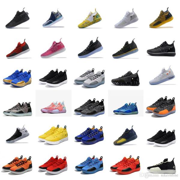 Satılık ucuz kd 11 erkekler basketbol ayakkabı Galaxy BHM Noel Beyaz Sarı Çiçek ASG gençlik çocuklar Kevin Durant ile xi sneakers çizmeler kutusu