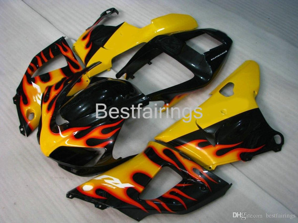 ZXMOTOR 7gifts fairing kit for YAMAHA R1 1998 1999 yellow black fairings YZF R1 98 99 BX12