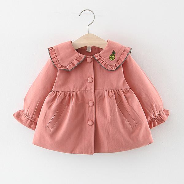 Осень 2019 новорожденных девочек вышивка фрукты отворот воротник Принцесса партия тренч куртка дети мода верхняя одежда пальто casaco