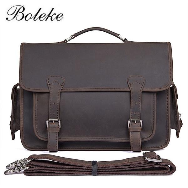 Men Crazy Horse Genuine Leather Messenger Shoulder Bag Vintage Handmade 14 inch Laptop Briefcase Casual handbag for #M7374R #646709