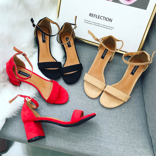 Pretty2019 Retention Recommend 18 A Coarse One Word Type Bring Buckle Concise Joker Student Women's Shoes High With Sandals