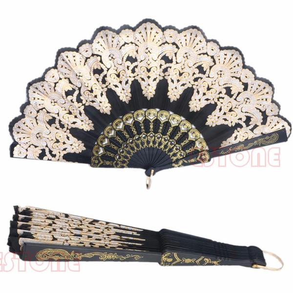 1pcs Black Spanish Style Lace Folding Hand Held Flower Fan For Dance Party Wedding