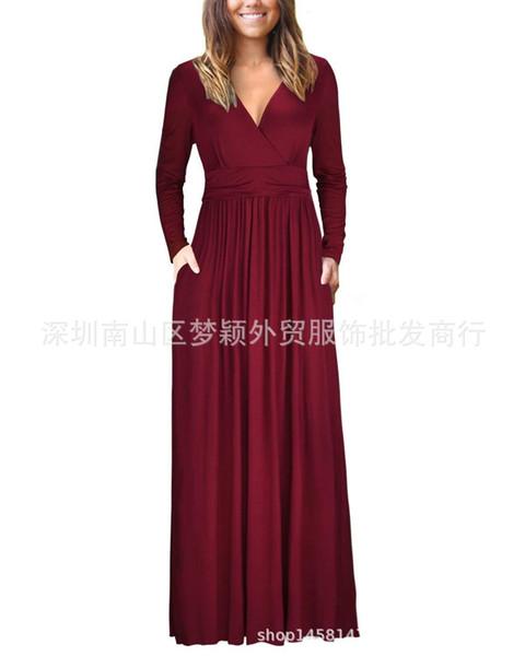 2019 neue Kleid Herbst V-Kragen Langarm Tasche gefaltet Taille Kleid langen Rock Kleid