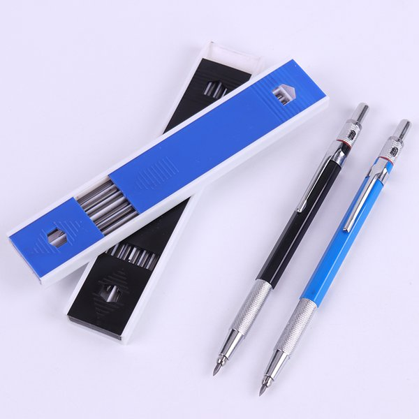 2.0mm Metal Mechanical Pencils with 12PCS Leads HB Lead Holder Drafting Drawing Pencil Set Writing School Stationery