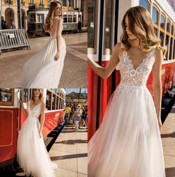 2019 Boho Wedding Dresses V Neck Lace Bridal Gowns Flow Tulle Skirt Backless robe de mariee Wedding Dress Cheap