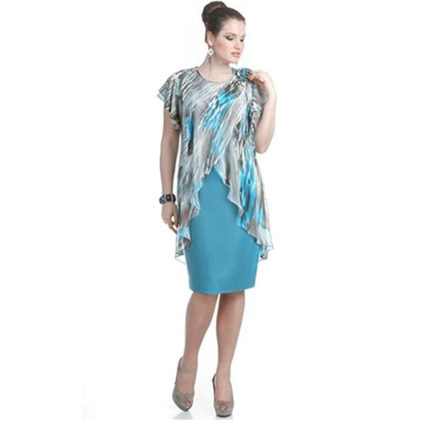 Plus Size Summer Dress Women\'S Clothing Knee Length Fake Two Piece Dress  Large Size Chiffon Ruffles Fashion Women\'S Dress Lace Dress Casual Dress Of  ...