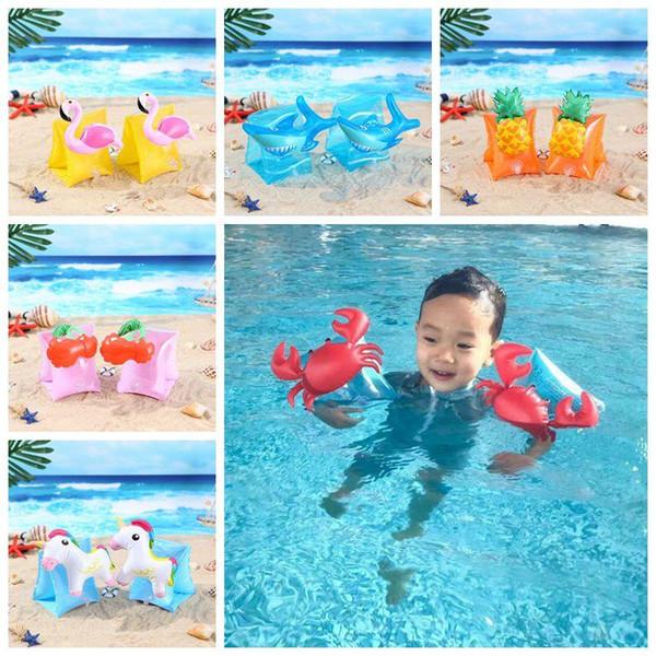 Bebê Flamingo Natação Braço Anéis Caranguejo Inflável Braço Bandas Unicórnio Dos Desenhos Animados Braço Anéis Crianças Acessórios de Natação 2 pcs / par CCA11573 50 par
