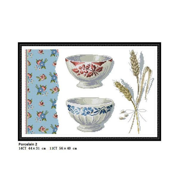 Porcelain 2 Scenery Paintings Counted Printed On Canvas DMC 11CT 14CT Chinese Cross Stitch kits Embroidery Needlework Wholesale Home Decor