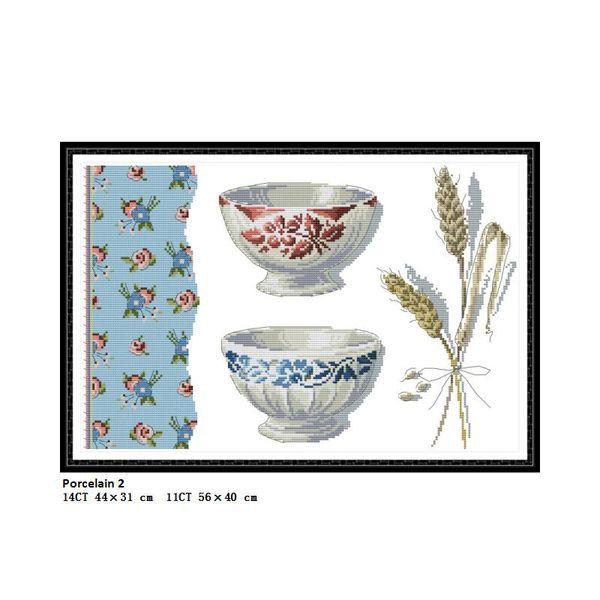 Pinturas de Cenário de porcelana 2 Contados Impresso Na Lona DMC 11CT 14CT kits kits de Ponto Cruz Chinesa Bordado Needlework Atacado Home Decor