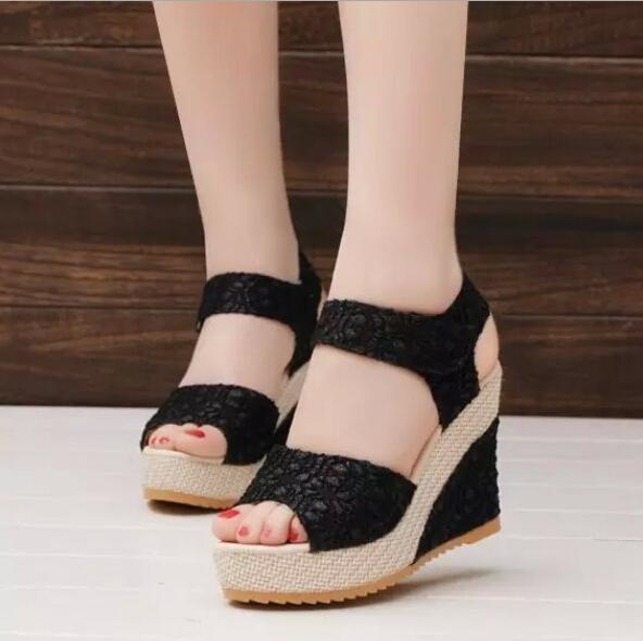 New explosion female sandals flat bottom wedge sandals female Velcro one-button buckle with muffin platform sandals