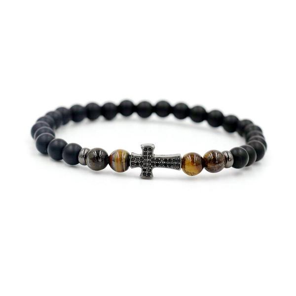 Trendy Hommes Micro CZ Bracelet Croix pour femmes Couples 6mm Pierre Chakra Yoga perles d'énergie Bracelet pour les amateurs de bijoux Viking