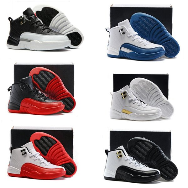 Children's XII 12 Running Shoes Blue Grey Kids 12s Boy Girls Basketball Shoes Children Casual Designer Sneakers Best Holiday Gift Size 28-35