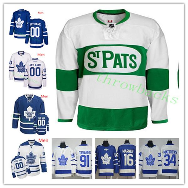 Custom Toronto Maple Leafs Hombres Mujeres Joven Marner Rielly Tavares Matthews Kapanen Kadri Gardiner Marleau Johnsson Camisetas de hockey Muzzin