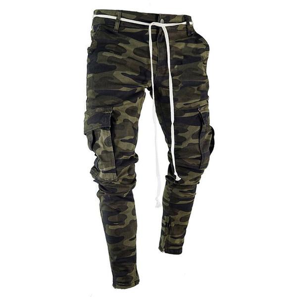 Мужские джинсы с камуфляжным принтом Модные большие карманы в полоску с молнией Тонкие джинсовые брюки